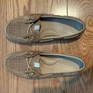 Sperry Coil Ivy Perforated Boat Shoes in Tan